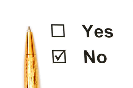 Pen and tick boxes with Yes and No options Stock Photo - 3965407