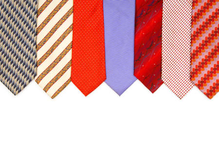 Selection of ties isolated on the white photo