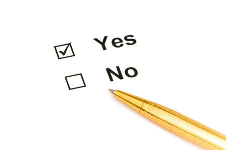 Pen and tick boxes with Yes and No options Stock Photo - 3993164