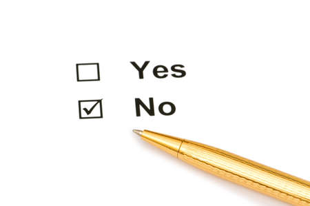 Pen and tick boxes with Yes and No options Stock Photo - 3993174