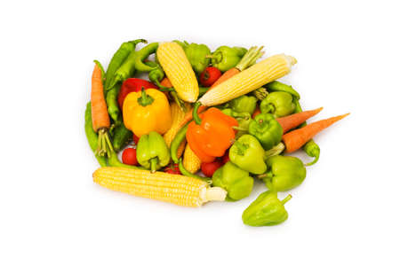sweet peppers: Various vegetables isolated on the white background