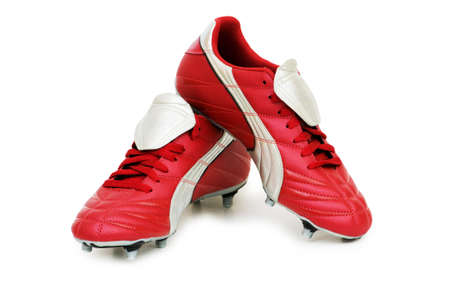 leasure: Calcio scarpe isolato su sfondo bianco
