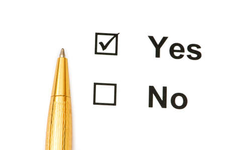 Pen and tick boxes with Yes and No options Stock Photo - 4089542
