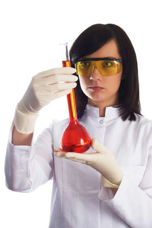 Woman with chemical tubes in the laboratory on white Stock Photo