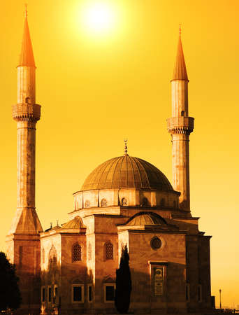 azerbaijan: Mosque with two minarets in Baku, Azerbaijan at sunset