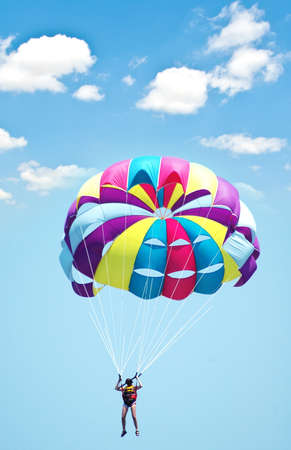 Multi coloured parachute over the blue sky Stock Photo - 4159218