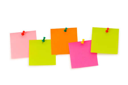 post it note: Reminder notes isolated on the white board
