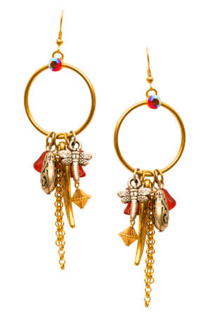Pair of earrings isolated on the white background photo