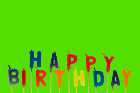 Multi coloured candles with Birthday - plenty of copyspace photo
