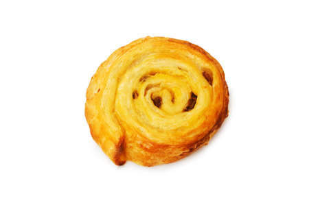 butter icing: Fresh danish pastry isolated on the white background Stock Photo