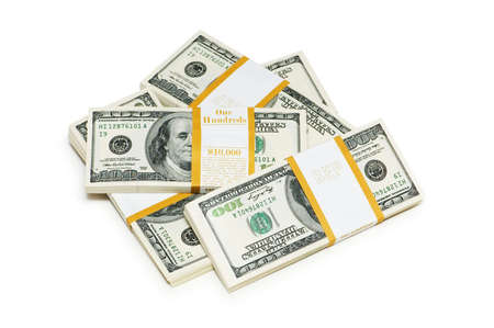 Ten thousand dollar stacks on the white Stock Photo - 4626786