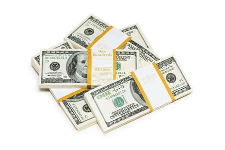 Ten thousand dollar stacks on the white Stock Photo - 4626786