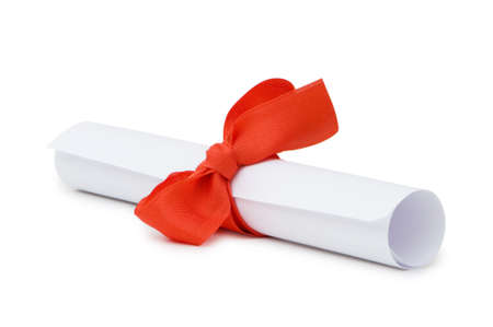 Diploma with red ribbon isolated on white Stock Photo - 4624065
