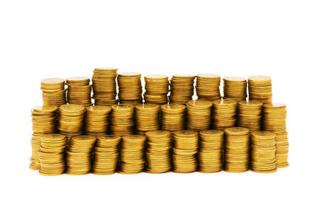 Stack of coins isolated on the white Stock Photo - 4622354