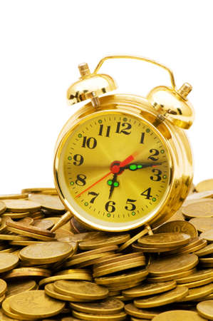 monies: Time is money concept with clock and coins