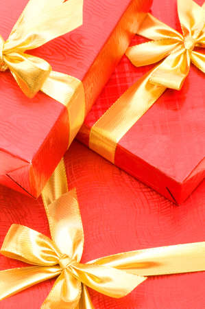 Close up of red giftboxes photo