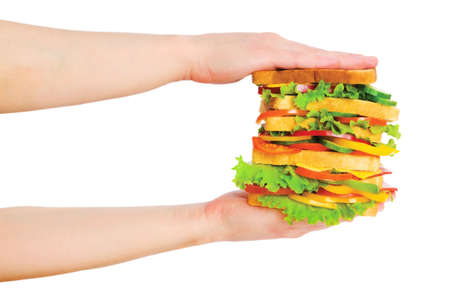 Two hands holding sandwich isolated on white Stock Photo