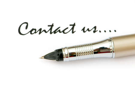 write us: Pen and Contact us message on white