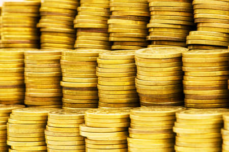 Close up of the golden coin stacks Stock Photo - 4655260
