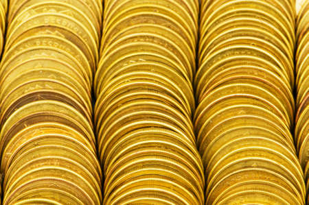 Close up of the golden coin stacks Stock Photo - 4655385
