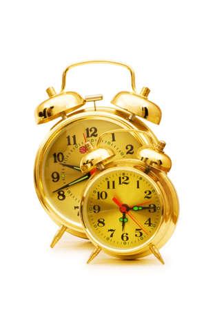 Shiny clock isolated on the white background photo