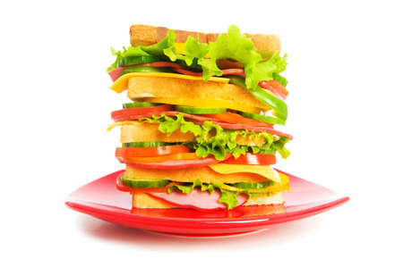 Plate with sandwich isolated on the white Stock Photo - 4737057