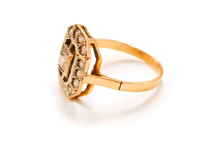 Golden ring isolated on the white background Stock Photo - 4736546