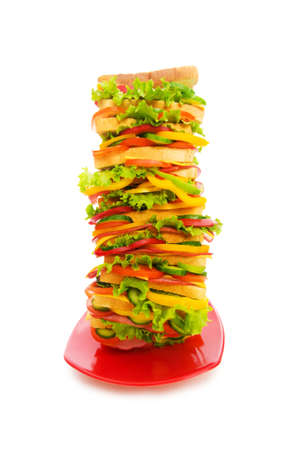 Huge sandwich isolated on the white background Stock Photo - 4749179