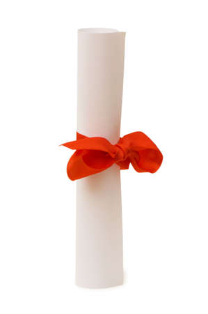 Diploma with red ribbon isolated on white Stock Photo - 4749153