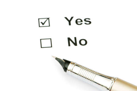 Pen and tick boxes with Yes and No options Stock Photo - 4790023