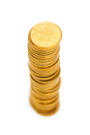 Stack of coins isolated on the white Stock Photo - 4790296