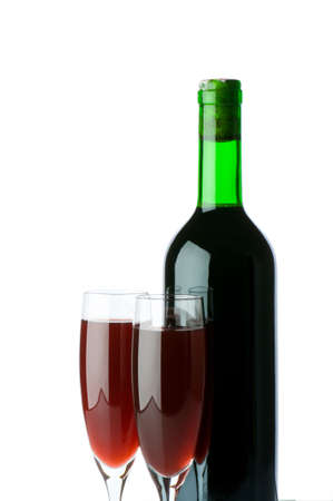 bocal: Bottle and wine glass on reflective background