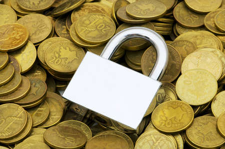 Concept of financial security with lock and coins photo