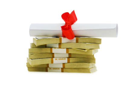 Concept of expensive education - dollars and diploma photo