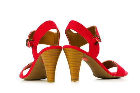 wearing sandals: Woman shoes isolated on the white background Stock Photo