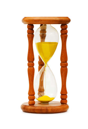 era: Wooden hourglass isolated on the white background