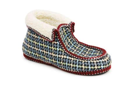 valenki: Warm slippers isolated on the white background Stock Photo