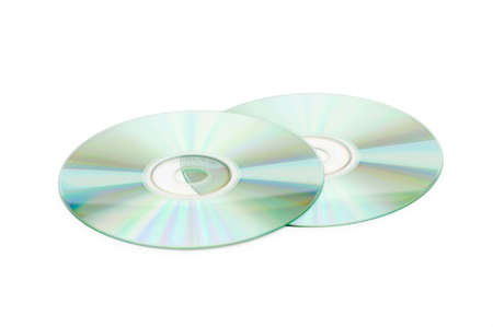 discs: Two cd discs isolated on the whte Stock Photo
