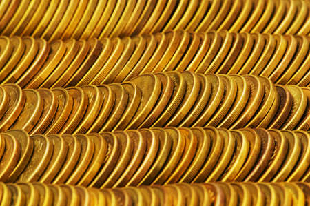 Close up of the golden coin stacks photo
