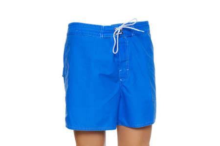 swimming shorts: Blue shorts isolated on the white background