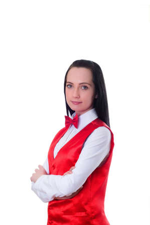 croupier: Casino dealer isolated on the white background Stock Photo