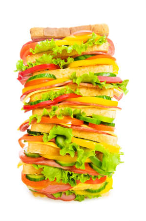 Giant sandwich isolated on the white background photo