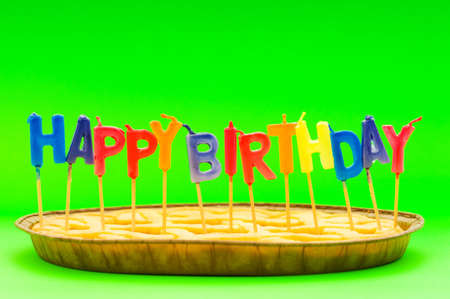 Happy birthday candles in the pie Stock Photo - 5144174