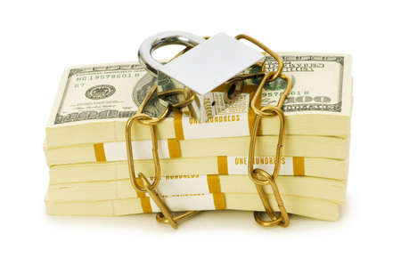 Financial security concept - padlock and dollars on white Stock Photo - 5171052