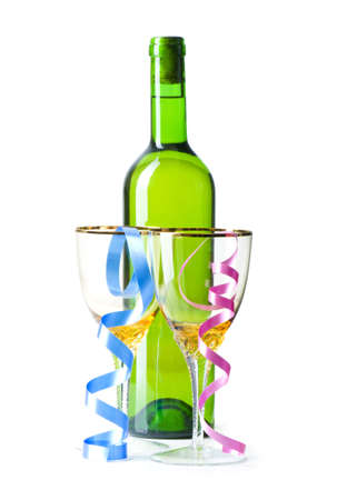 Bottle with streamers photo