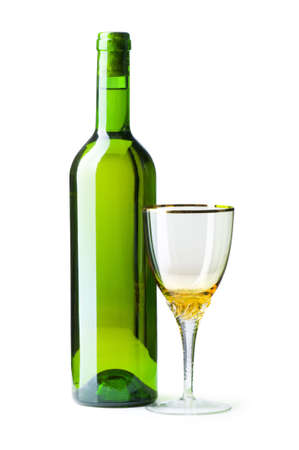 Bottle and glass isolated on the white photo