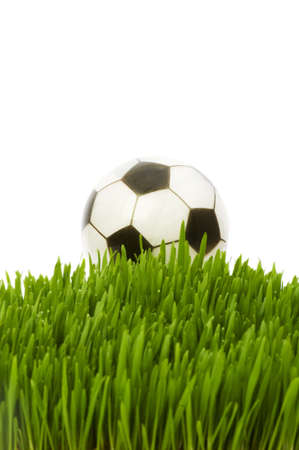 pigskin: Sport concept - football on the green glass Stock Photo