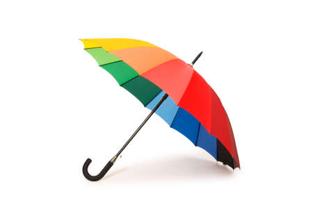lluvia paraguas: Coloridos paraguas aislados sobre el fondo blanco