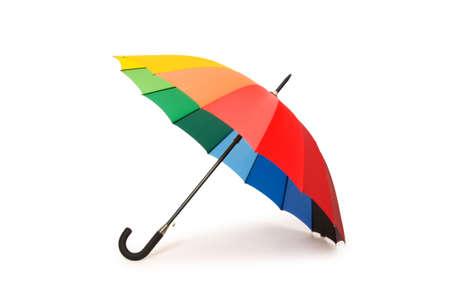 Kleurrijke paraplu geïsoleerd op de witte achtergrond