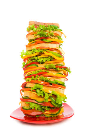 huge: Huge sandwich isolated on the white background Stock Photo